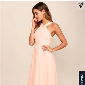 Lulus air of romance peach maxi dress